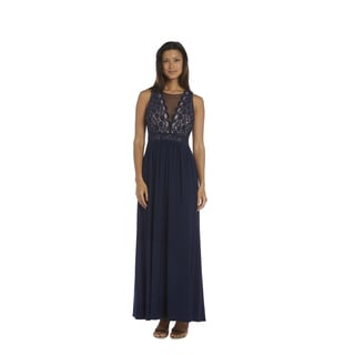 Nightway Navy Lace Evening Gown