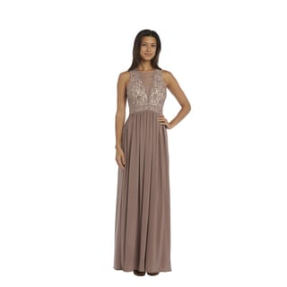 Nightway Ivory and Taupe Lace Evening Gown