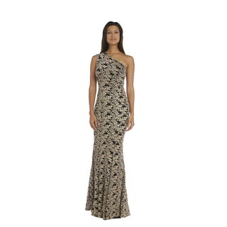 Nightway Women's Black/Gold Nylon-blend Lace Evening Gown