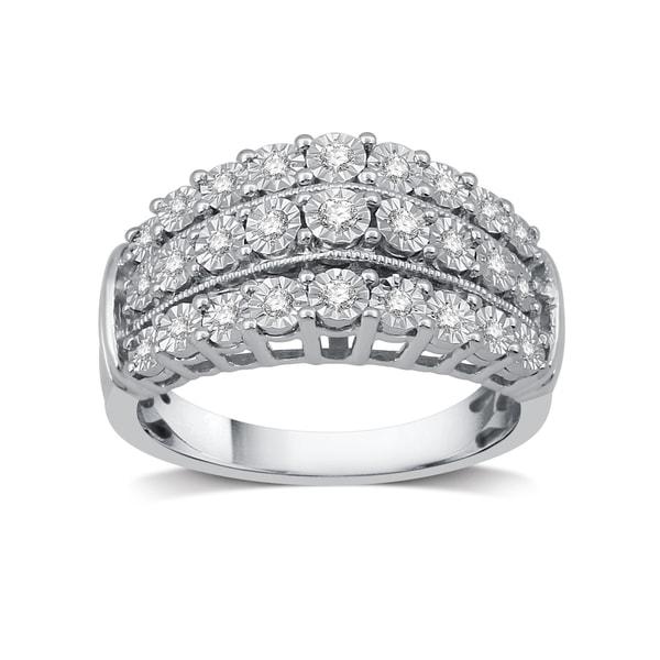 1/4 Diamond and Milgrain Three Row Anniversary Ring In Sterling Silver (I-J, I2-I3) - White I-J
