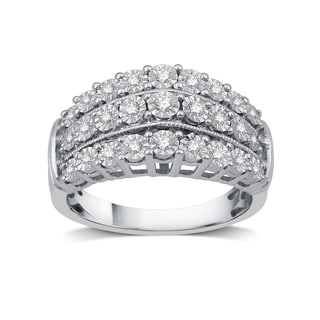 1/4 Diamond and Milgrain Three Row Anniversary Ring In Sterling Silver (I-J, I2-I3)