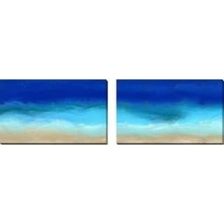 Mark Lawrence 'Beach Scene 8. Aqua Beach Blues' Oversized Wall Art Sets of 2