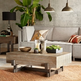 Strick & Bolton Jacklin Reclaimed Brown/ Gun Metal Coffee Table