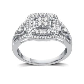 1/2 CTTW Diamond Cushion Double Frame Engagement Ring In Sterling Silver (I-J, I2-I3) - White I-J