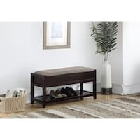 Shop Solid Wood Espresso Finish Bench With Shoe Storage