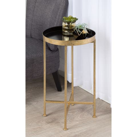 Silver Orchid Legeay Round Metal Foldable Tray Accent Table