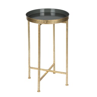 Porch & Den Alamo Heights Zambrano Round Metal Foldable Tray Accent Table (3 options available)