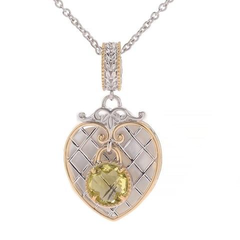 Michael Valitutti Palladium Silver Paris Love Locks White Mother of Perarl & Ouro Verde Heart Charm Pendant