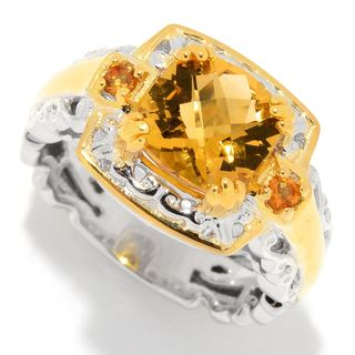 Michael Valitutti Palladium Silver Cushion & Round Golden Citrine Cocktail Ring