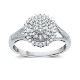 1/4 CTTW Diamond Fashion Oval-Shaped Ring In Sterling Silver (I-J, I2-I3) - White I-J