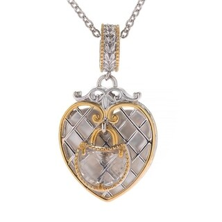 Michael Valitutti Palladium Silver Paris Love Locks White Mother of Perarl & White Quartz Heart Charm Pendant