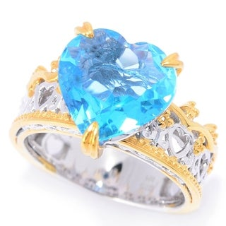 Michael Valitutti Palladium Silver Heart Shaped Swiss Blue Topaz Crown Ring
