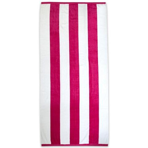 Jumbo Tropical Cabana Stripe 34x68-inch Cotton Beach Towel (Set of 1, 2 or 4 available)