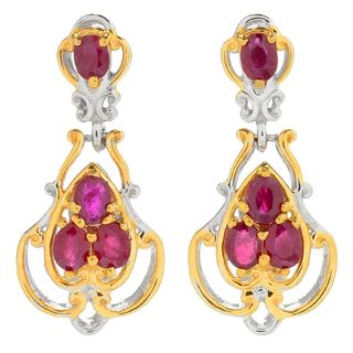 Michael Valitutti Palladium Silver Ruby Four-Stone Hinged Drop Earrings
