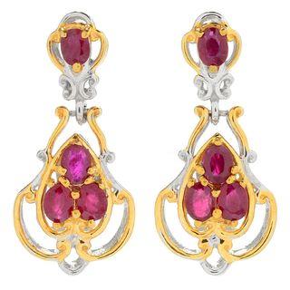 Michael Valitutti Palladium Silver Ruby Four-Stone Hinged Drop Earrings