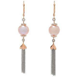 Michael Valitutti Palladium Silver Pink Freshwater Cultured Pearl Tassel Earrings|https://ak1.ostkcdn.com/images/products/16602843/P22930828.jpg?impolicy=medium