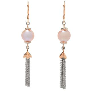 Michael Valitutti Palladium Silver Pink Freshwater Cultured Pearl Tassel Earrings