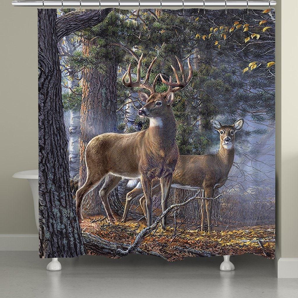 Details About Deer Shower Curtain Rustic Wildlife Forest Buck Doe Hunter Cabin Bathroom New