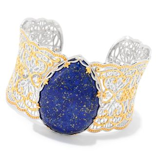 Michael Valitutti Palladium Silver Lapis Lazuli Scalloped Edge Wide Cuff Bracelet