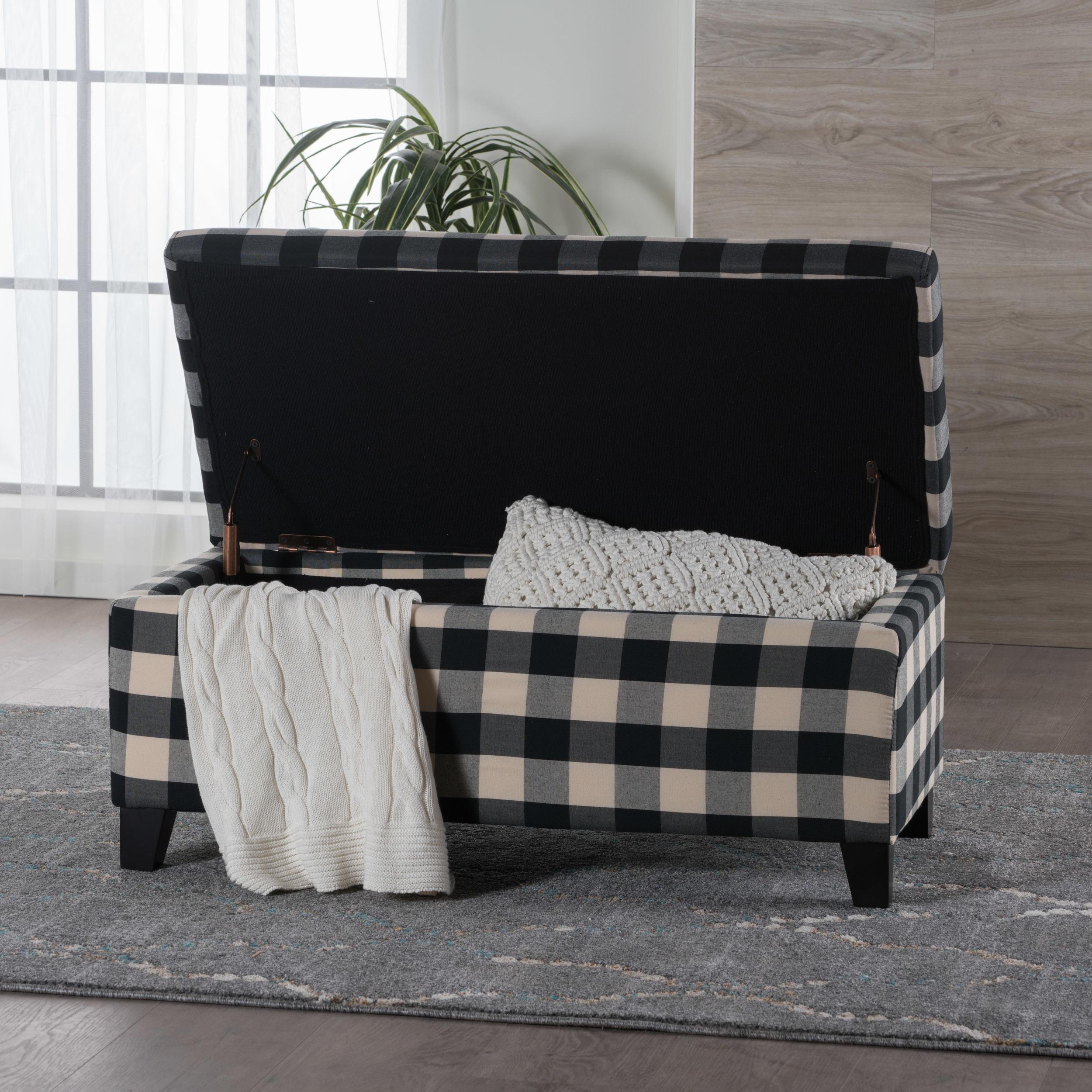 Awe Inspiring Matteo Plaid Pattern Fabric Square Storage Ottoman Bench By Christopher Knight Home Machost Co Dining Chair Design Ideas Machostcouk