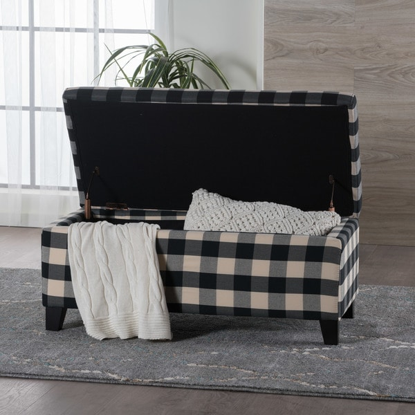 Attirant Matteo Plaid Pattern Fabric Square Storage Ottoman Bench By Christopher  Knight Home