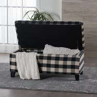 Matteo Plaid Pattern Fabric Square Storage Ottoman Bench by Christopher Knight Home