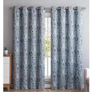 HLC.ME Paris Paisley Thermal Blackout Grommet Curtain Panel Pair