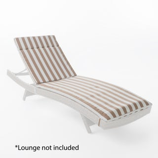 Sienna Outdoor Colored Water Resistant Chaise Lounge Cushion (ONLY) by Christopher Knight Home (Option: Brown/White Stripe)