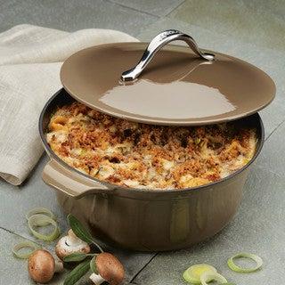 Anolon Vesta Cookware Cast Iron Dutch Oven, 5-Quart Round - Umber