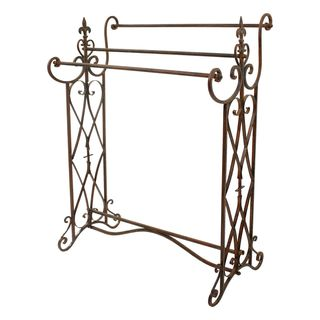 Amita Brown Metal Traditional Towel Rack