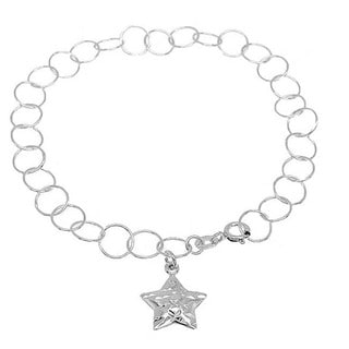 Handmade Sterling Silver High Polish Links Diamond Cut Star Charm Anklet (Italy)