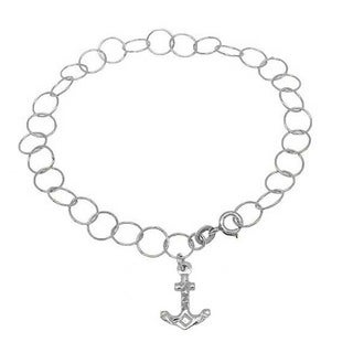 Handmade Sterling Silver High Polish Links Diamond Cut Anchor Charm Anklet (Italy)