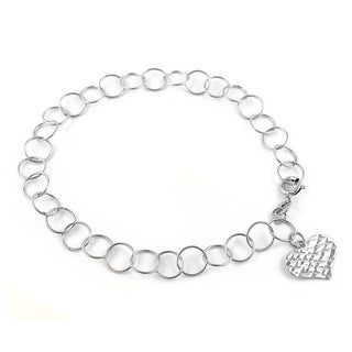 Handmade Sterling Silver High Polish Links Diamond Cut Heart Charm Anklet (Italy)