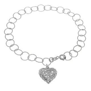 Handmade Sterling Silver High Polish Links Diamond Cut Puffed Heart Charm Anklet (Italy)