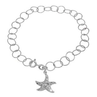 Handmade Sterling Silver High Polish Links Diamond Cut Starfish Charm Anklet (Italy)