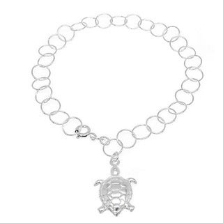 Handmade Sterling Silver High Polish Links Diamond Cut Turtle Charm Anklet (Italy)