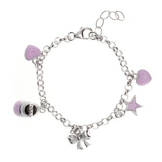 Sterling Essentials Sterling Silver 6-inch Pink Enamel Charm Bracelet