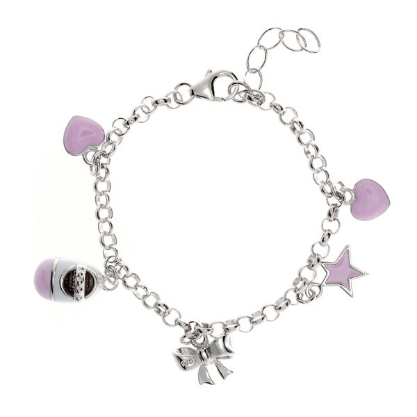 Sterling Essentials Sterling Silver 6-inch Pink Enamel Charm Bracelet. Opens flyout.