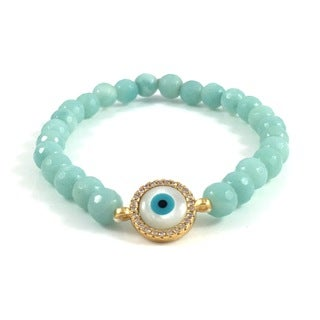 Rebecca Cherry Handmade Amazonite Bead Bracelet with Cubic Zirconia Evil Eye Link