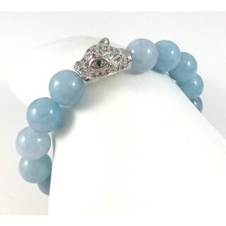 Handmade Aquamarine Bead Bracelet with Cubic Zirconia Panther Bead (USA)