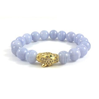 Handmade Rebecca Cherry Blue Lace Agate Bead Bracelet with Cubic Zirconia Panther Bead (United States)