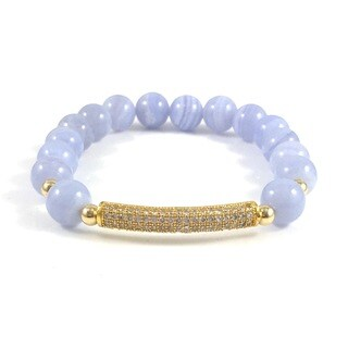Handmade Rebecca Cherry Blue Lace Agate Bead Bracelet with Cubic Zirconia Bar (United States)