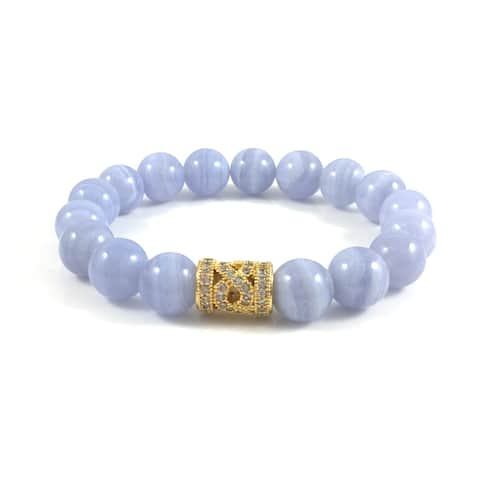 Rebecca Cherry Handmade Blue Lace Agate Bead Bracelet with Cubic Zirconia Infinity Bead (USA) - Periwinkle