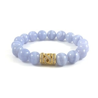 Handmade Blue Lace Agate Bead Bracelet with Cubic Zirconia Infinity Bead (USA)