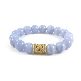 Handmade Rebecca Cherry Blue Lace Agate Bead Bracelet with Cubic Zirconia Infinity Bead (United States)
