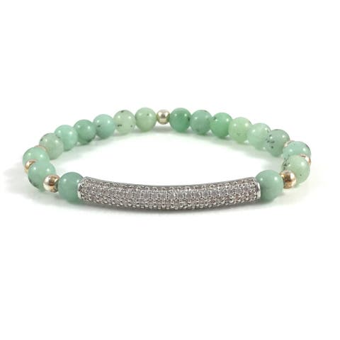 Rebecca Cherry Handmade Burmese Jade Beaded Bracelet with Silver Cubic Zirconia Bar (USA) - Green