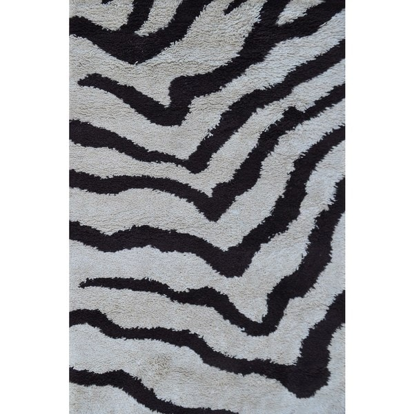 Shop The Rug Market Zebra Brown Cream Wool Shag Area Rug Free