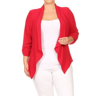 Women's Solid Open Front Draped Cardigan