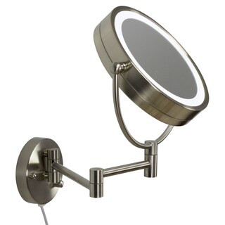 20.83-in. W Round Brass-LED Wall Mount Magnifying Mirror In Brushed Nickel Color - Brushed Nickel - N/A