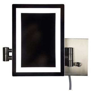 17.44-in. W Rectangle Brass-LED Wall Mount Magnifying Mirror In Brushed Nickel Color - Brushed Nickel - N/A